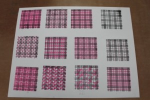 Faux Quilting Double Stamped Pink over Black by Ann Butler