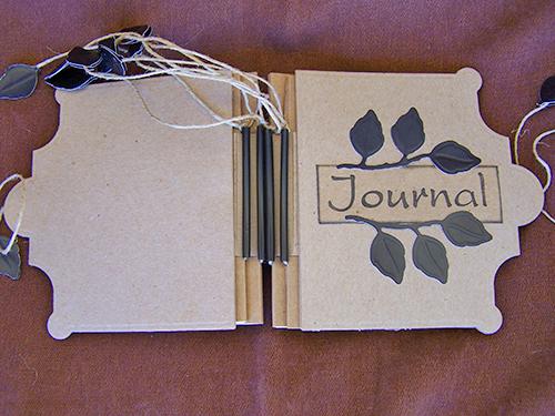 Falling Leaves Handmade  Journal - Spine (open)