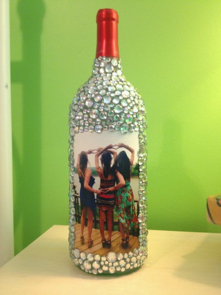 Rhinestone Wine Bottle Frame-#3