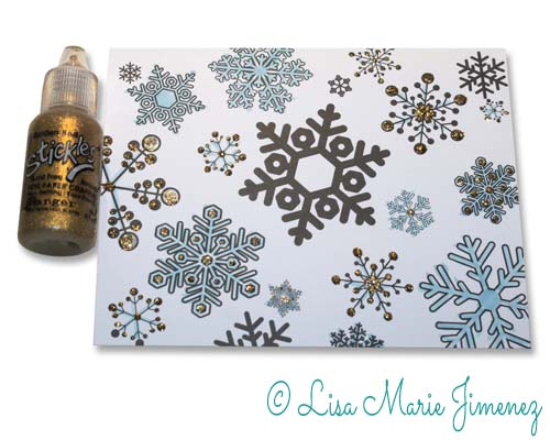 Adding glitter to holiday card