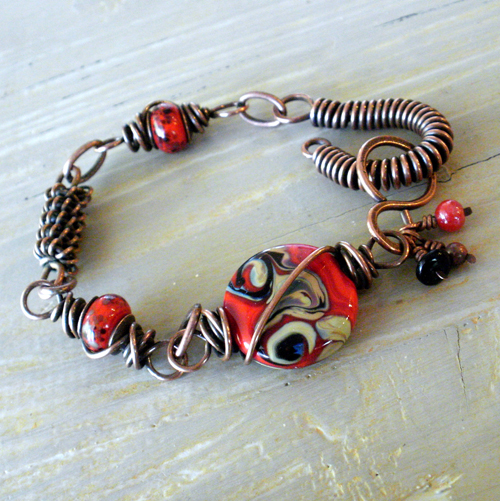Copper and Red Glass Bracelet