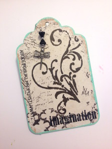 Tissue Decoupaged Wood Tag