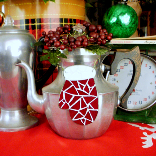 Mosaic Mitten Christmas Tree Ornament