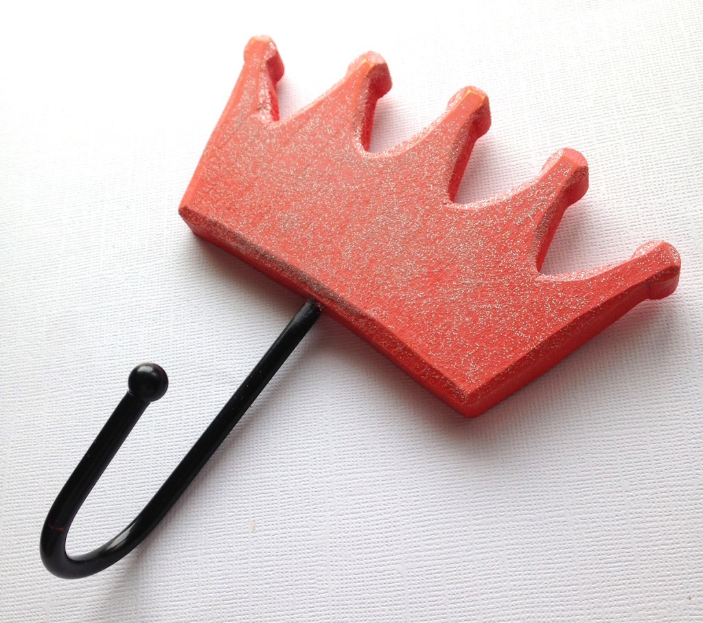 painted crown wood clothes hook