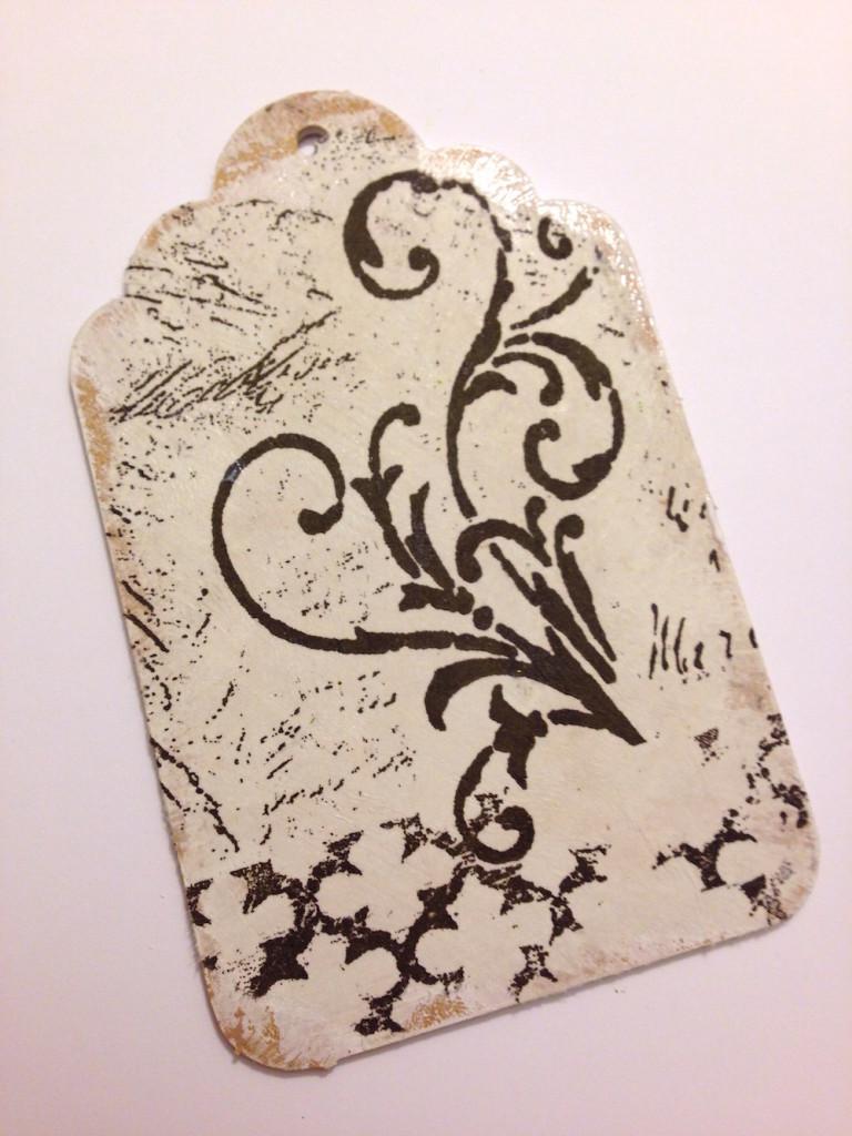 tissue decoupage wood tag lisa fulmer